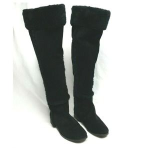 BCBGMAXARIA Black Suede Knee Hi Boot Faux Fur 7.5M